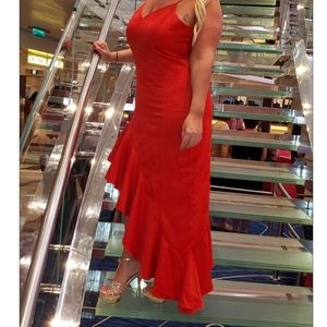 Sexy Red High Low Evening Dress